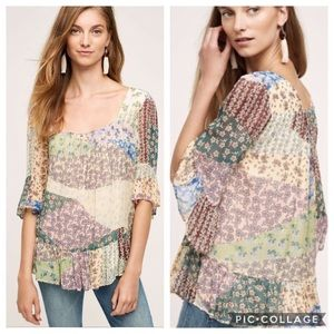 3/$30 Anthro Floreat Patchwork Peasant Boho Top